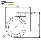 Meubelwiel 42 mm dubbel soft plaat 36 x 36 mm
