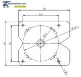 Inbouw meubelwiel 36 mm dubbelrol soft wiel vierkant-inzetstuk