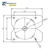 Inbouw meubelwiel 36 mm dubbelrol hard wiel vierkant-inzetstuk