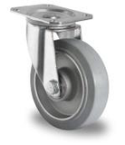 Zwenkwiel 125 mm elastisch rubber grijs