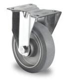 Bokwiel 100 mm elastisch rubber grijs