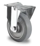 Bokwiel 125 mm elastisch rubber grijs