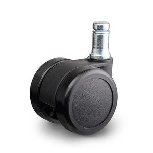Meubelwiel dubbel zwart hard 60-mm bout stift 10 mm
