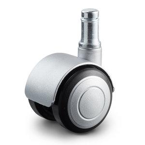 Meubelwiel 40 mm soft kap stift 11 mm zilver