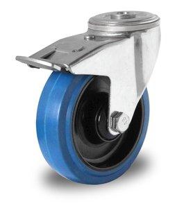 Zwenkwiel met rem 125 mm blauw boutgat rollager