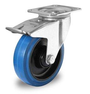Zwenkwiel met rem 125 mm blauw plaat kogellager