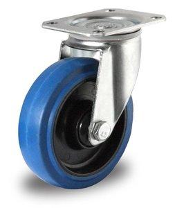 Zwenkwiel 125 mm blauw plaat rollager