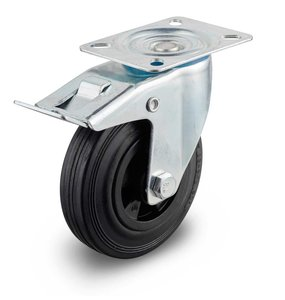 100 mm Zwenkwiel met rem