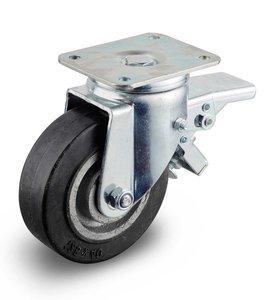 Zwenkwiel zwaar gietijzer wiel 125 mm met rem