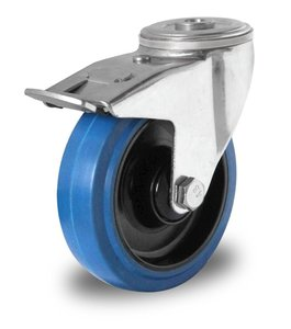 Zwenkwiel met rem 160 mm blauw boutgat kogellager