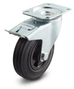 rubber zwenkwiel met rem