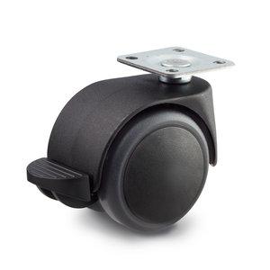 Meubelwiel met rem 50 mm soft kap plaatbevestiging
