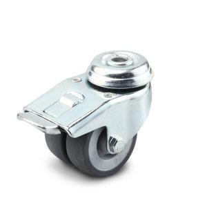 Apparatenwielen 50 mm met rem dubbel wiel boutgat