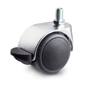 Meubelwiel chroom look met rem 50 mm soft kap bout M10