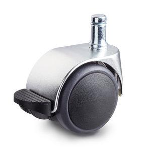 Meubelwiel chroom look met rem 50 mm soft kap stift 10 mm x 20 mm