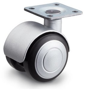 Meubelwiel 40 mm soft kap plaat 28 x 28 mm mat zilver design