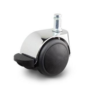 Meubelwiel chroom met rem 50 mm stift 10 mm x 20 mm