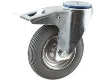 zwenkwiel met rem en luchtband 200 mm boutgatbevestiging