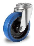 Zwenkwiel 100 mm blauw boutgat rollager