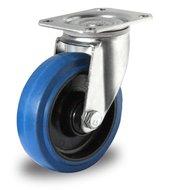 Zwenkwiel 100 mm blauw plaat rollager