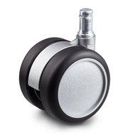 Meubelwiel 60 mm mat zilver soft-rol stift 11 mm x 20 mm