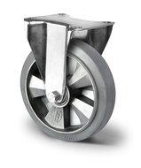 Bokwiel zwaarlast 200 mm elastisch rubber grijs
